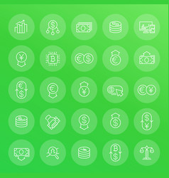 currency trading financial operations line icons vector image