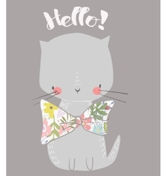 cute cat with floral bow vector image