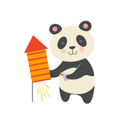 cute panda bear with a party popper lovely vector image