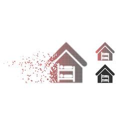 disintegrating pixel halftone hostel icon vector image