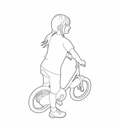 drawing of a little girl on a bicycle vector image