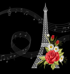 eiffel tower with flowers and music notes on black vector image
