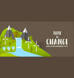 environment day banner green nature landscape vector image