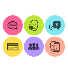 Face attention payment received and group icons vector