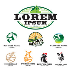 Farm and poultry theme logo set vector