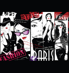 Fashion collage with freehand drawings vector