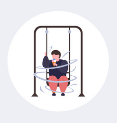fat obese guy swinging and eating ice cream vector image