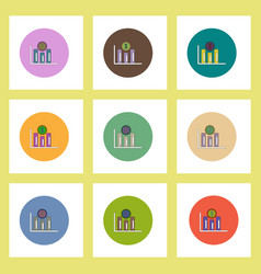 flat icons set of column chart and currency vector image