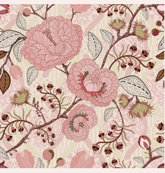 Floral vintage seamless pattern retro plants vector