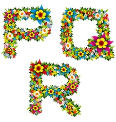 flower and bush letters 06 vector image