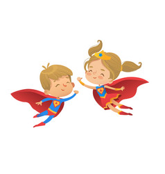 flying and laughing superhero boy and girl brown vector image