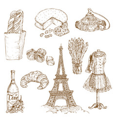 france hand drawn icon set vector image