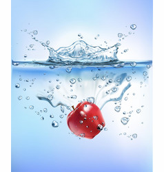 Fresh vegetables splashing into blue clear water vector