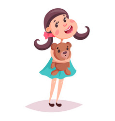 girl or child kid or schoolgirl with teddy bear vector image
