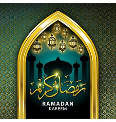 Gold Mosque and stars ramadan kareem card in vector image