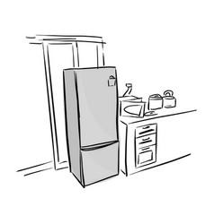 Gray refrigerator in kitchen sketch vector