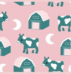 Green and pink cute cow and barn in a seamless vector