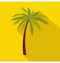 Green palm tree icon flat style vector image