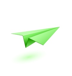Green paper airplane vector