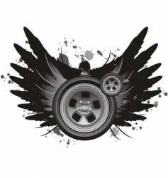 Grunge winged wheel vector