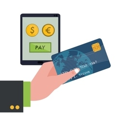 hand holding credit card technology pay money vector image