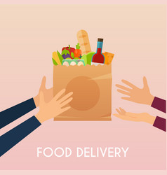 Hand holding food in package food delivery vector