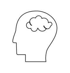 human head brain mind outline vector image