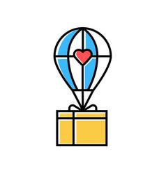 Humanitarian assistance color icon delivery aid vector