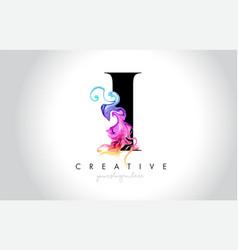 I vibrant creative leter logo design vector