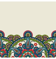 Indian paisley boho floral border vector