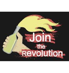 Join the revolution logo on black vector
