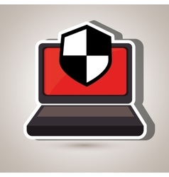 laptop computer with shield isolated icon design vector image