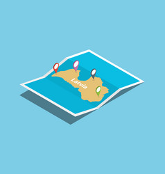 Latvia explore maps with isometric style and pin vector