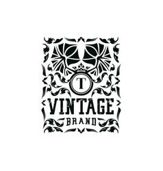 Letter t vintage logo design vector