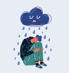 Lonely man in rain cry vector