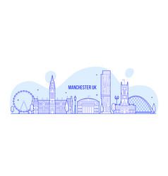 manchester greater england uk skyline line vector image