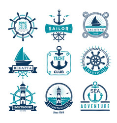 Marine labels nautical logo sailing boats rope vector