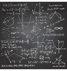 Mathematical formulas and drawings on a chalkboard vector image