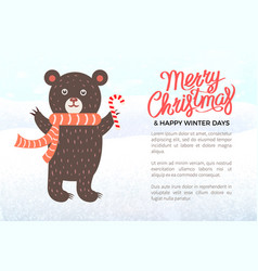 merry christmas holiday banner with bear in scarf vector image
