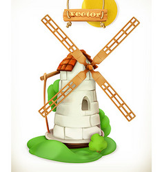 Mill Windmill 3d icon vector