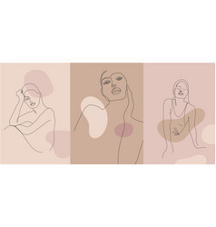 Minimalist style portrait line women vector