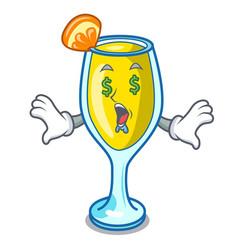 Money eye mimosa mascot cartoon style vector