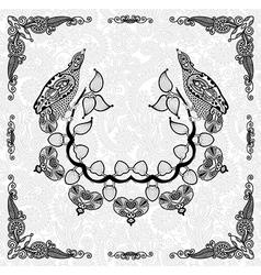 ornamental floral and bird frame design vector image