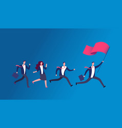 People holding flag and running business leader vector