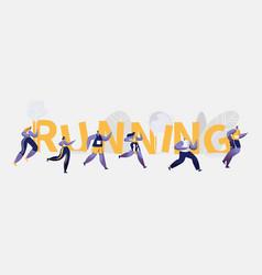 people marathon running sport competition banner vector image
