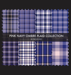 Pink navy ombre plaid textured seamless pattern vector