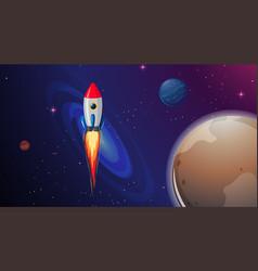 Rocket ship in space vector