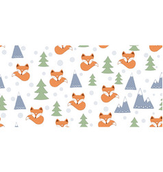 Scandinavian seamless with foxes vector