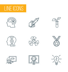 School icons line style set with creativity medal vector