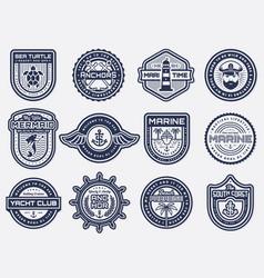 sea nautical and beach retro badges set vector image